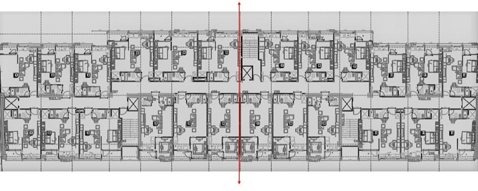 تصویر شماره 5 تقارن پلان پروژه تالی پارک معلم نسبت به محور تعیین شده